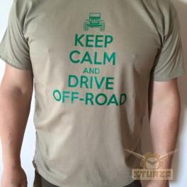Póló Keep calm off road homok színű L