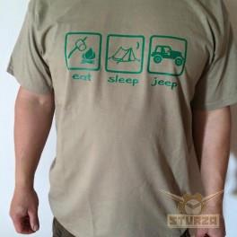 """Póló """"Eat sleep jeep"""" homok színű XL"""
